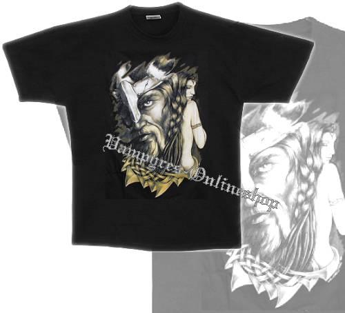 B&C T-Shirt Wikinger Motiv 7 Schwarz