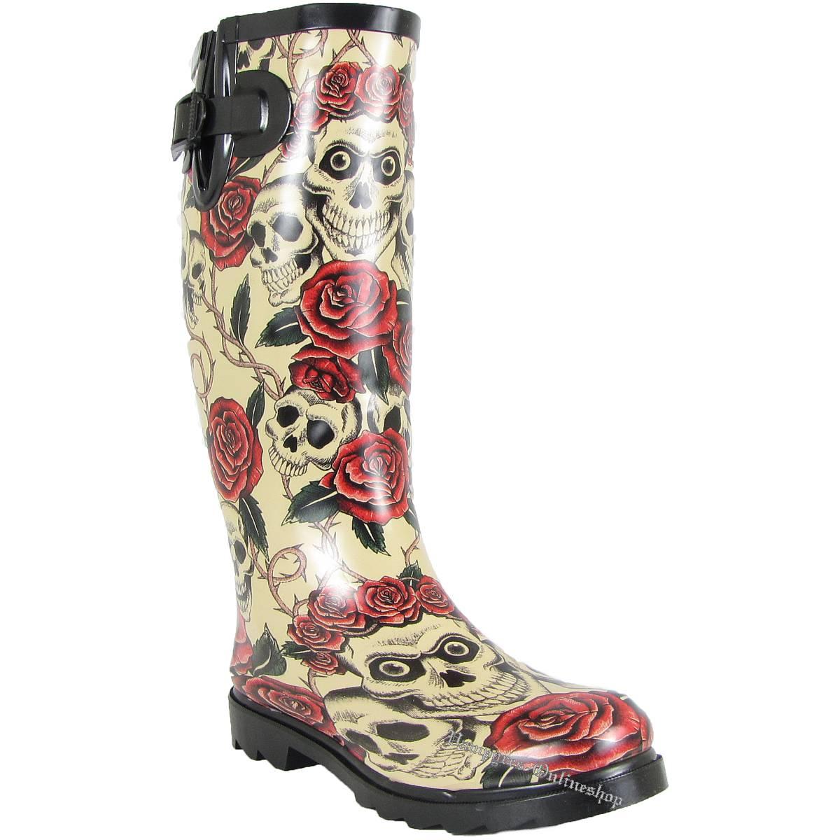 Alcatraz Skull + Roses Beige Rain Boot Gummistiefel
