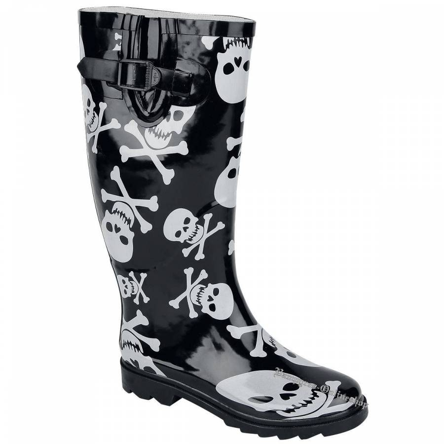 Alcatraz Skull + Bones Schwarz Rain Boot Gummistiefel