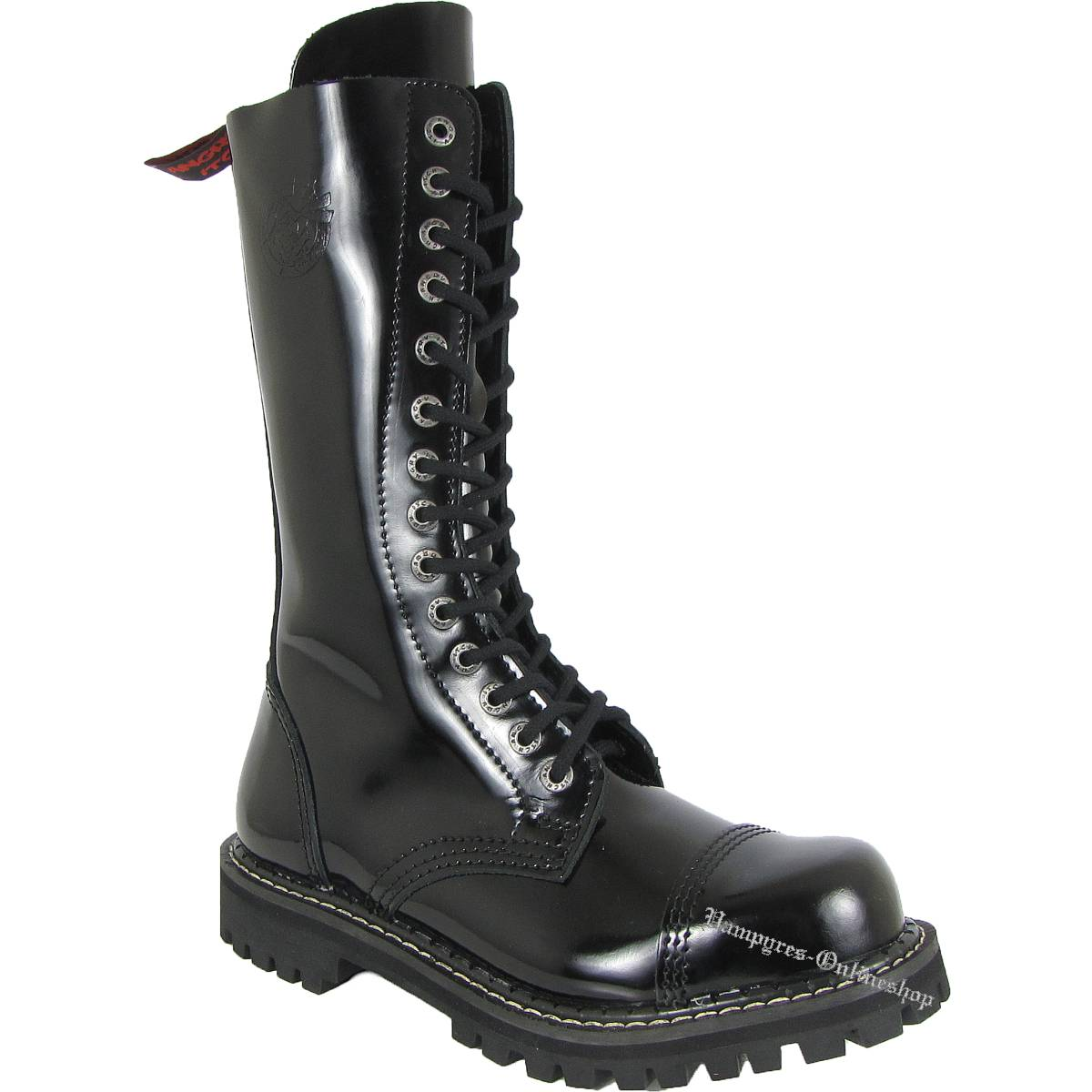 Angry Itch 14-Loch Lack Zip Schwarz Patent Rangers Stiefel RV