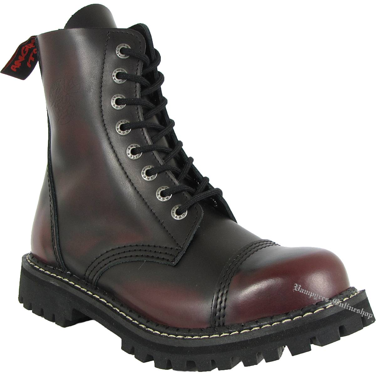 Angry Itch 8-Loch Burgundy Schwarz Rub-Off Rangers Stiefel Schuhe