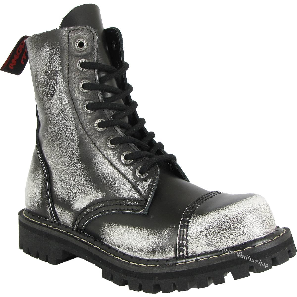 Angry Itch 8-Loch Weiß Schwarz White Rub-Off Rangers Stiefel Schuhe