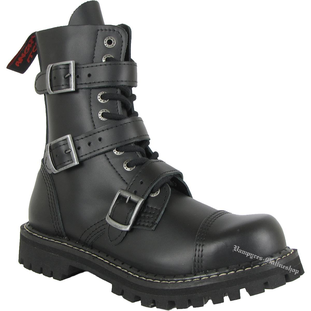 Angry Itch 10-Loch 3-Schnallen Schwarz Rangers Stiefel Schuhe