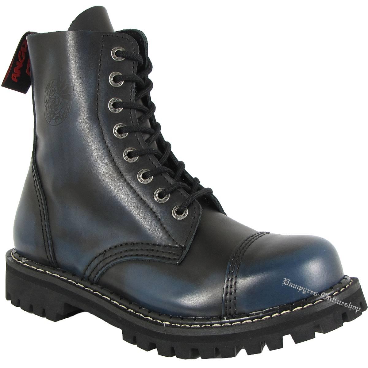 Angry Itch 8-Loch Blau Schwarz Rub-Off Rangers Stiefel Schuhe