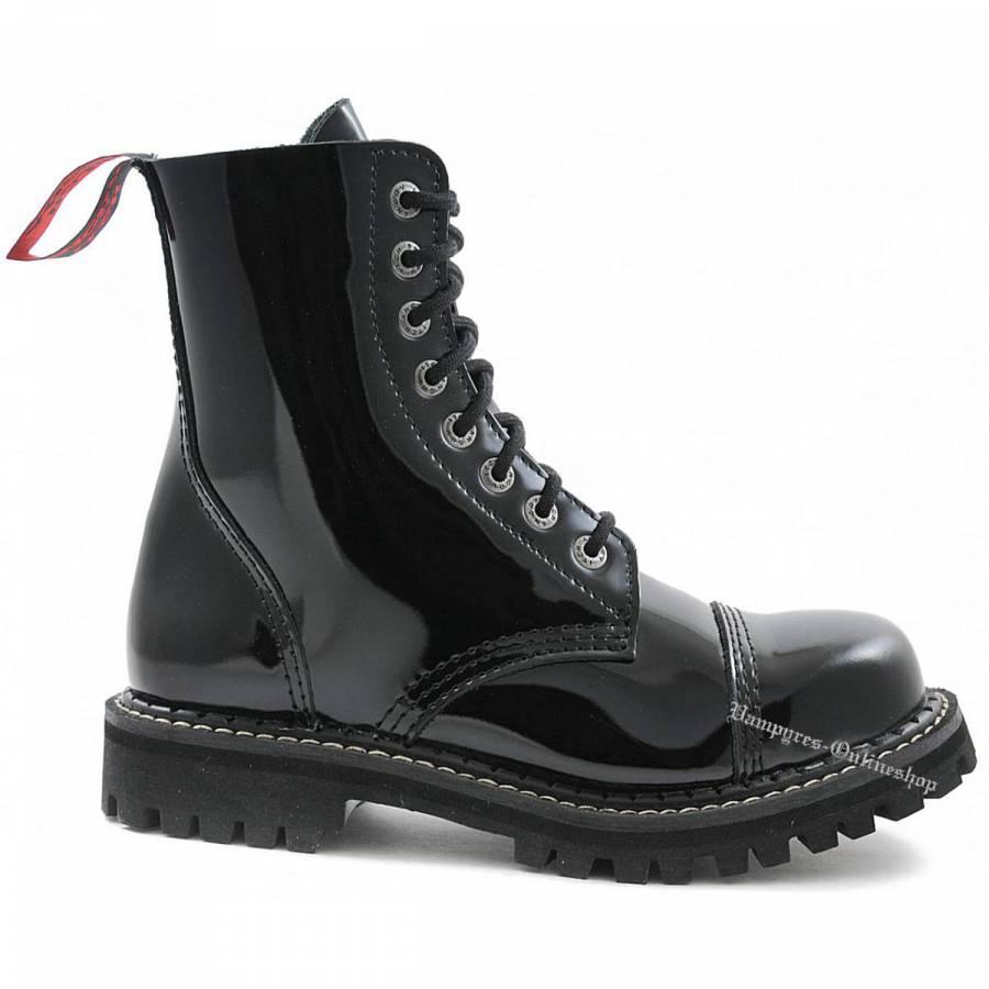 Angry Itch 8-Loch Lack Schwarz Rangers Stiefel Schuhe
