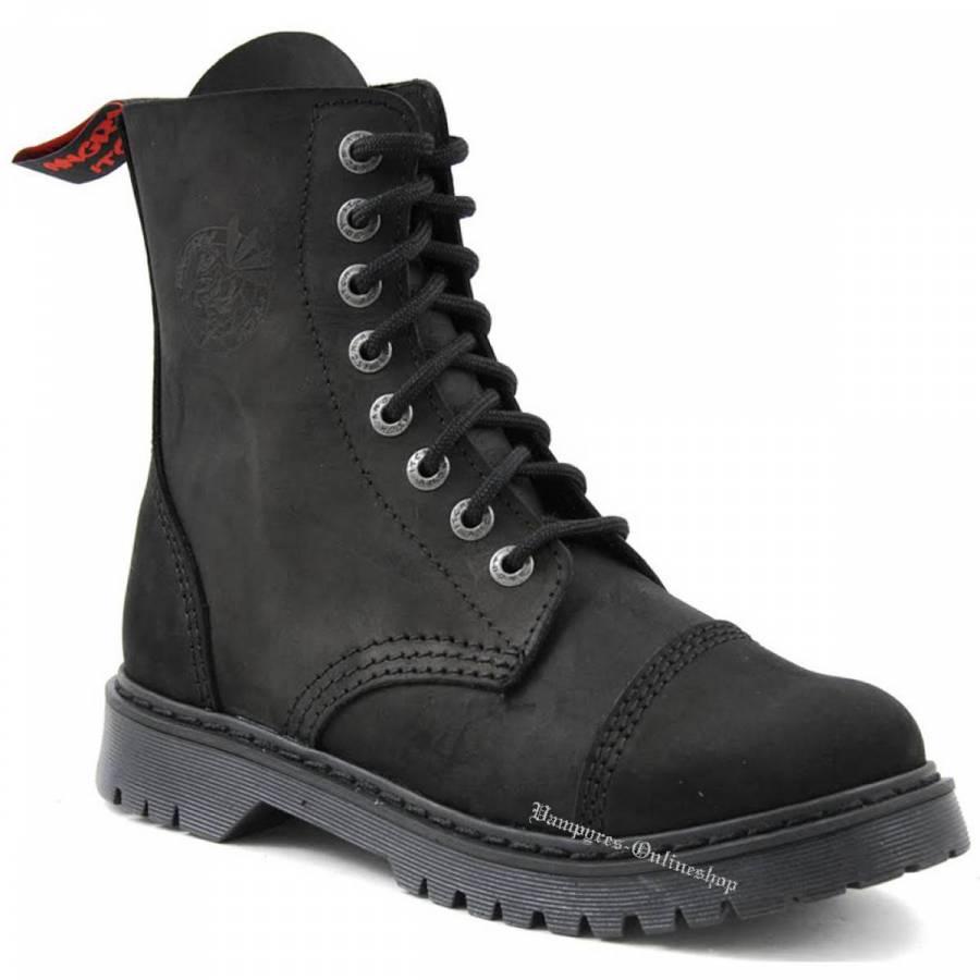 Angry Itch 8-Loch Light Vintage Schwarz Rangers Stiefel Schuhe
