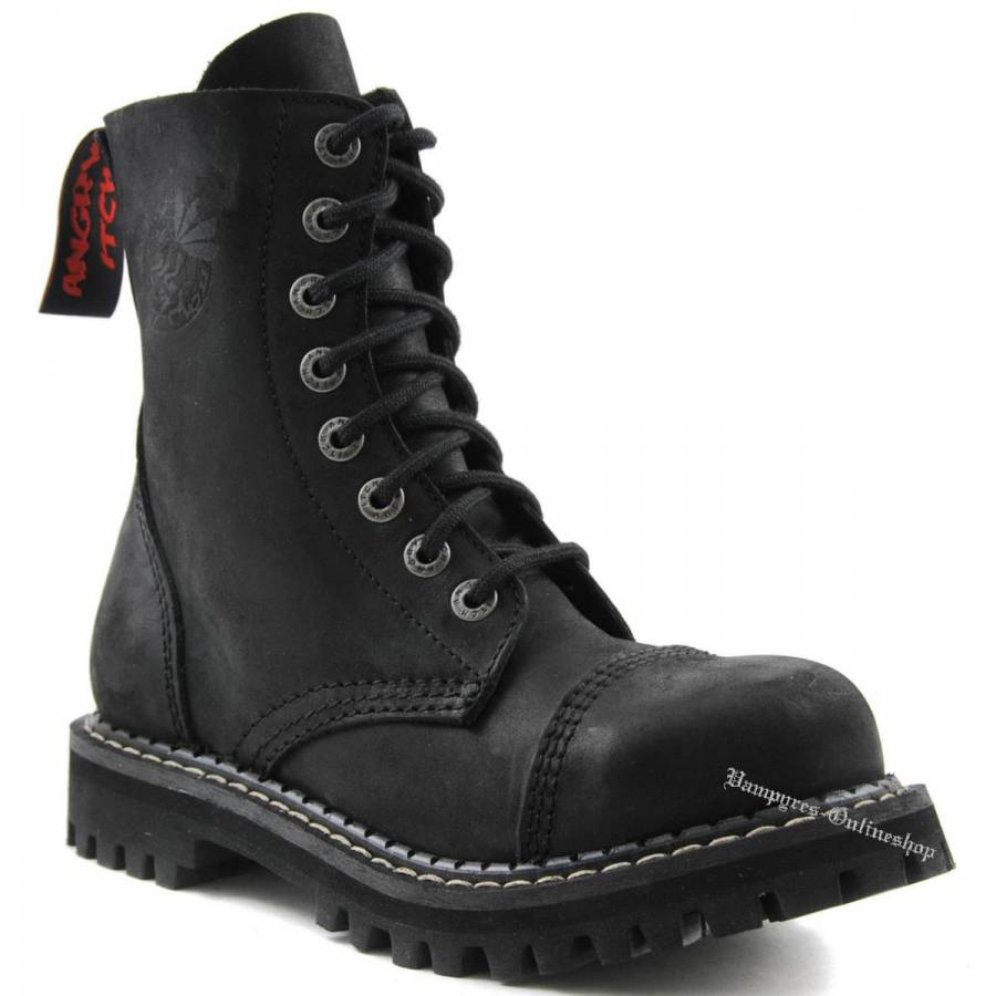 Angry Itch 8-Loch Vintage Schwarz Rangers Stiefel Schuhe