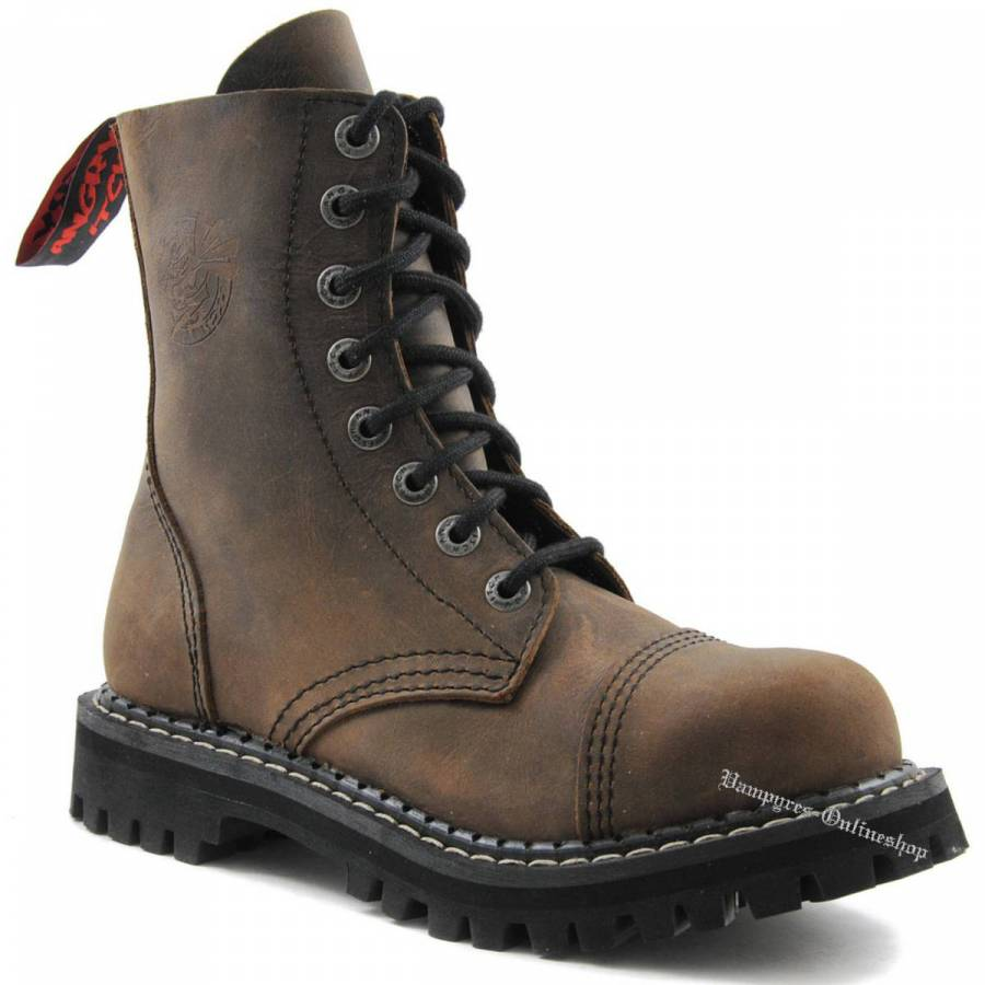 Angry Itch 8-Loch Braun Vintage Rangers Stiefel Schuhe