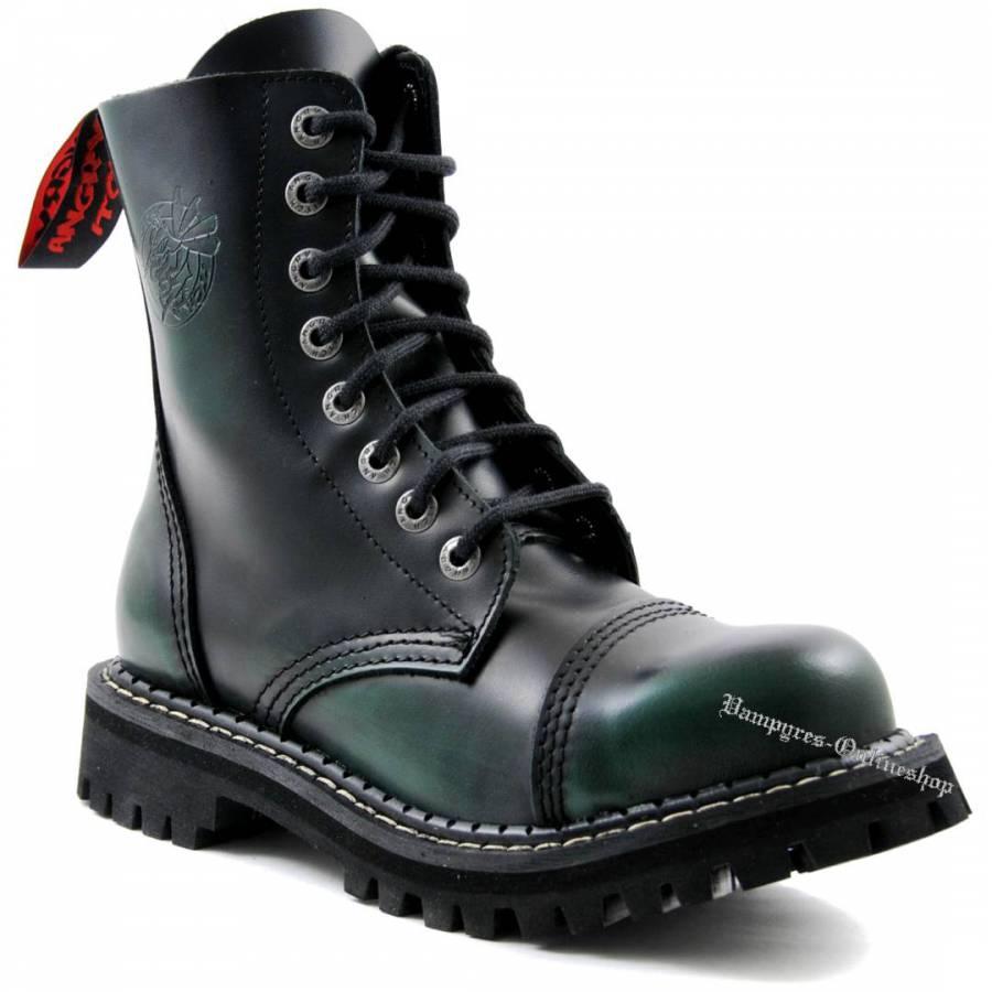 Angry Itch 8-Loch Grün Schwarz Rub-Off Rangers Stiefel Schuhe