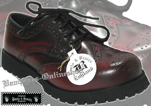 Boots & Braces 4-Loch Budapester Burgundy Rub Off Schwarz Rot Rangers