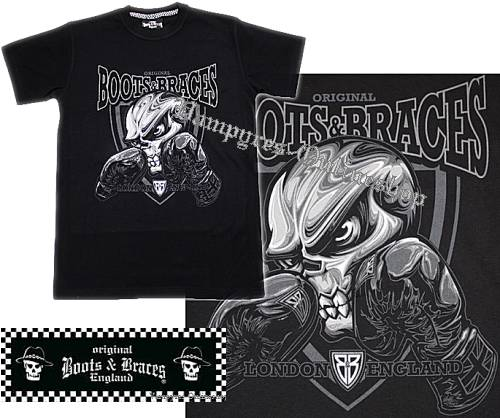 Boots & Braces T-Shirt Skull Boxer Schwarz Totenkopf