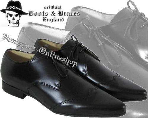 Boots & Braces Winkelpiker Classic Schwarz Pikes Schuhe