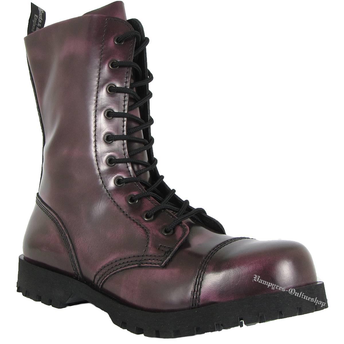 Boots & Braces 10-Loch Lila Rub Off Schwarz Lila Stiefel Rangers