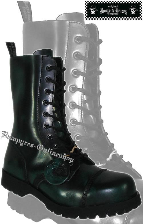 Boots & Braces 10-Loch Green Rub Off Schwarz Grün Stiefel Rangers