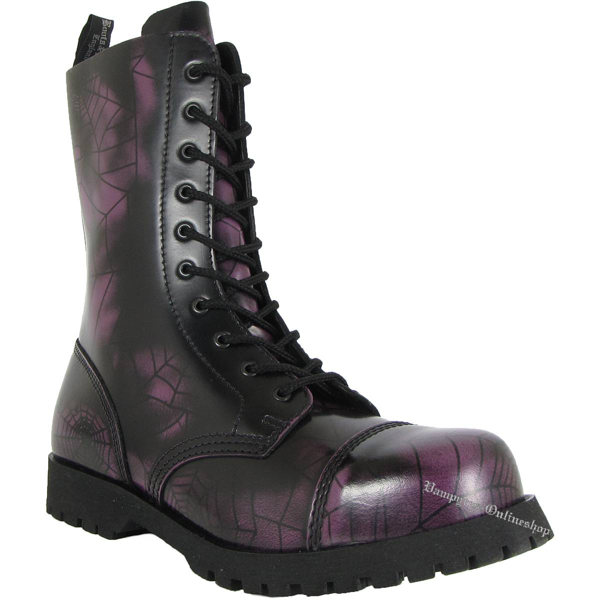 Boots & Braces 10-Loch Spider Web Lila Schwarz Stiefel Rangers
