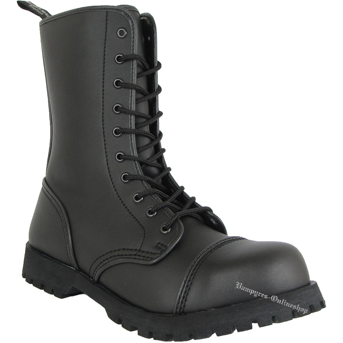 Boots & Braces 10-Loch Vegetarian Schwarz Stiefel Vegane Rangers Vegi Leder
