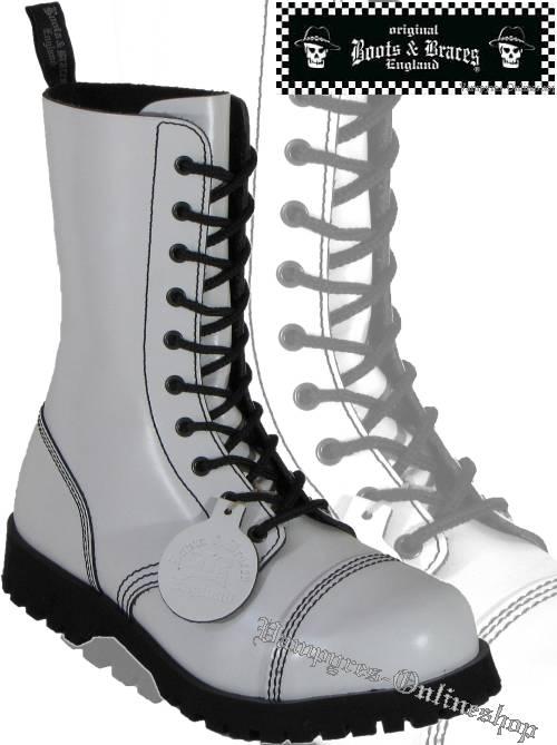 Boots & Braces 10-Loch Hot Colour Weiß Stiefel Rangers