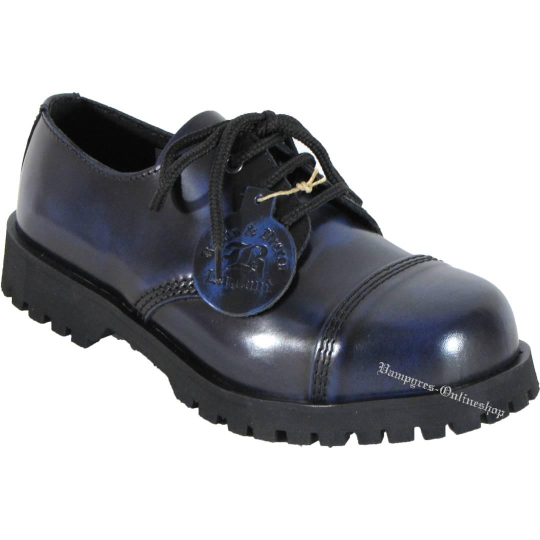 Boots & Braces 3-Loch Blau Rub Off Blau Schwarz Schuhe Rangers