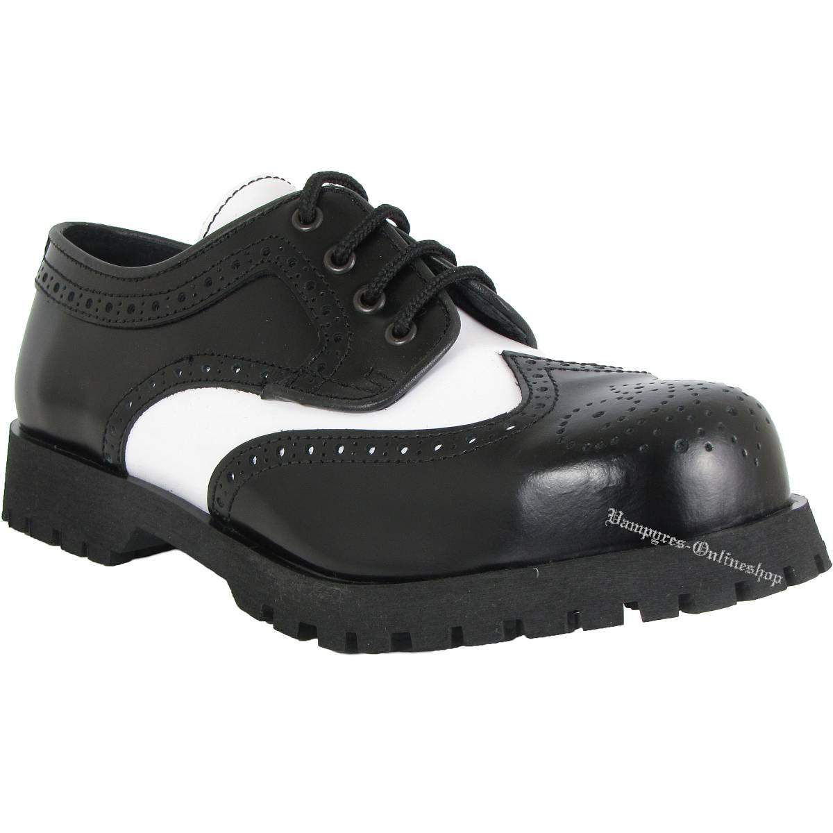 Boots & Braces 4-Loch Budapester Schwarz Weiß Schuhe Rangers