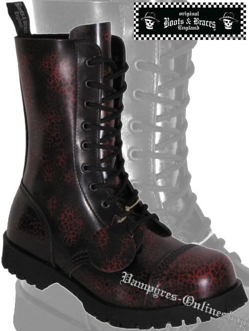 Boots & Braces 10-Loch Mini Leo Schwarz Rot Rub Off Stiefel