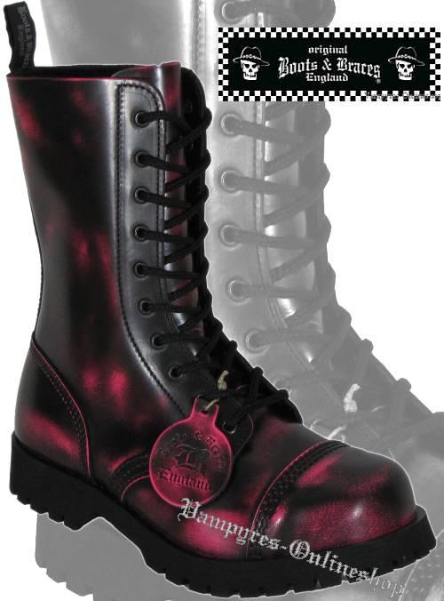 Boots & Braces 10-Loch Pink Rub Off Schwarz Pink Stiefel Rangers