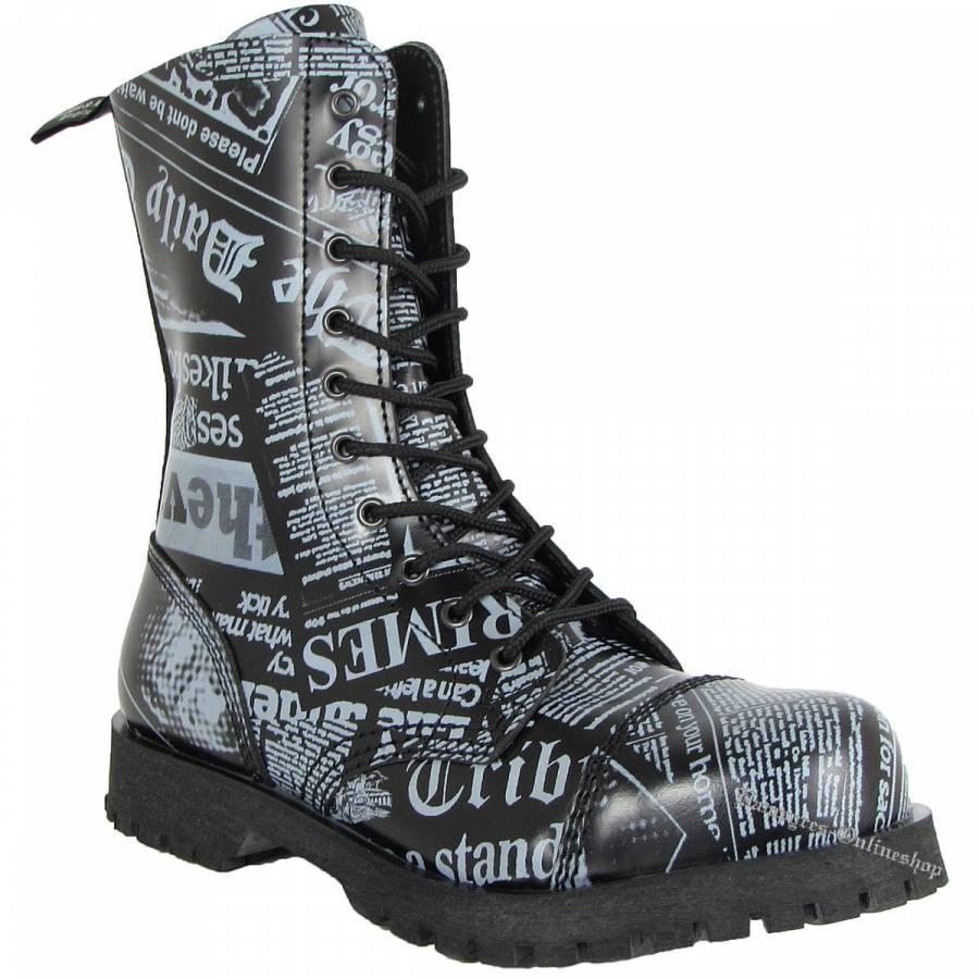 Boots & Braces 10-Loch Newspaper Schwarz Grau Stiefel Rangers