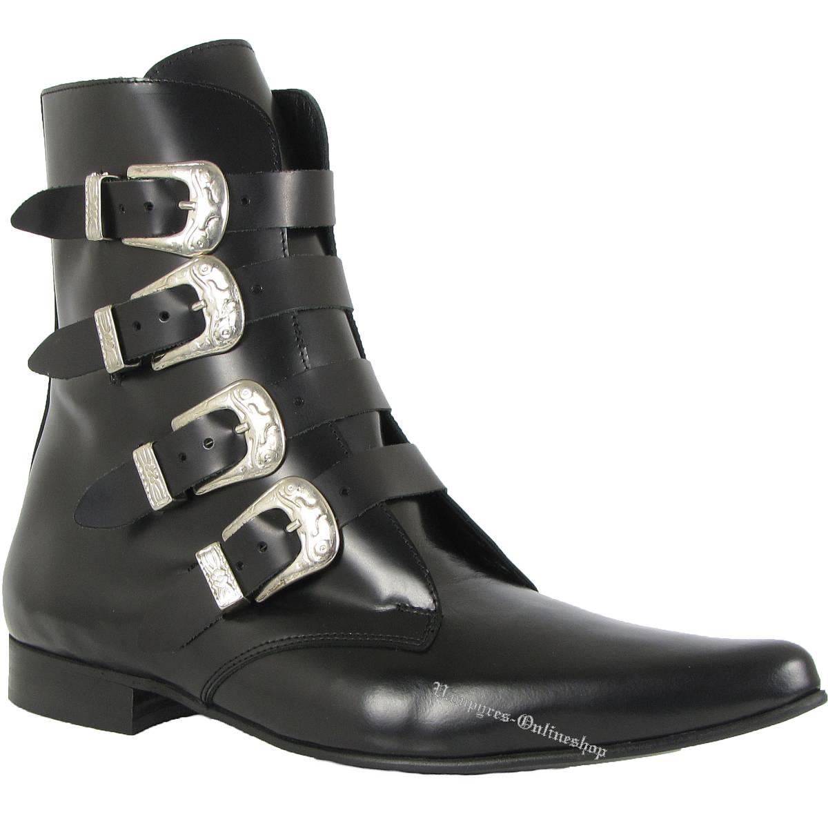 Boots & Braces Winkelpiker 4 Buckle Schwarz Schnallen Pikes Schuhe