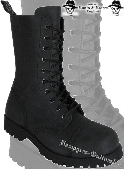 Boots & Braces 10-Loch Crazy Horse Matt Schwarz Stiefel Rangers