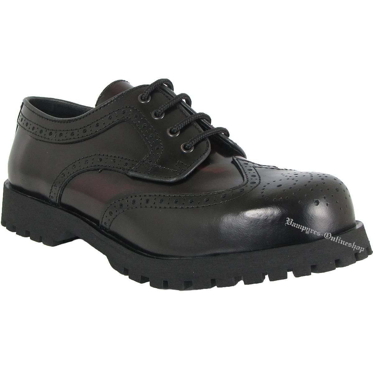 Boots & Braces 4-Loch Budapester Schwarz Burgundy Rub Off Schuhe Rangers
