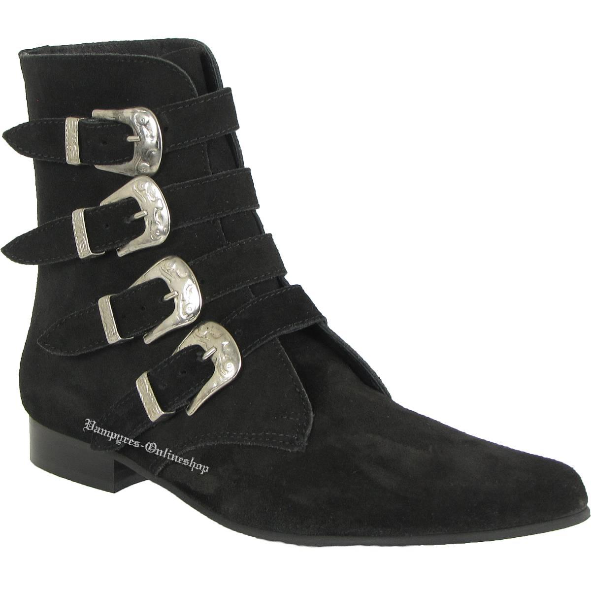 Boots & Braces Winkelpiker 4 Buckle Schwarz Wildleder Pikes