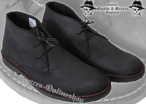 Boots & Braces 2-Loch Waxed 2012er Schwarz Schuhe