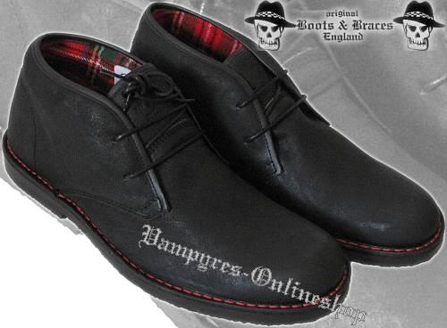 Boots & Braces 2-Loch Washed 2012er Schwarz Tartan Schuhe