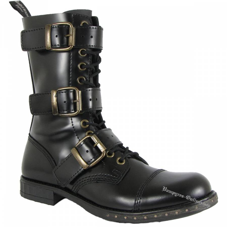 Boots & Braces 12-Loch Steampunk Schwarz Stiefel