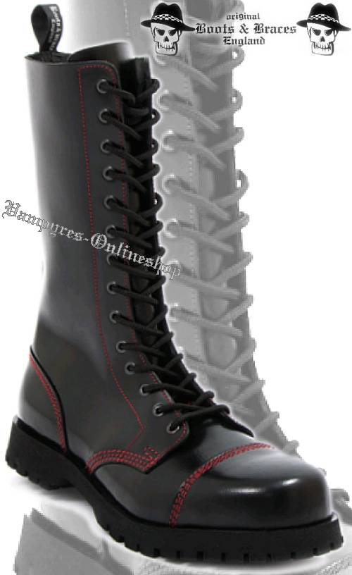 Boots & Braces 14-Loch Rote Naht Schwarz Stiefel Rangers