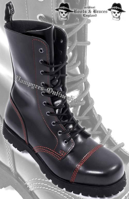 Boots & Braces 10-Loch Rote Naht Schwarz Stiefel Rangers