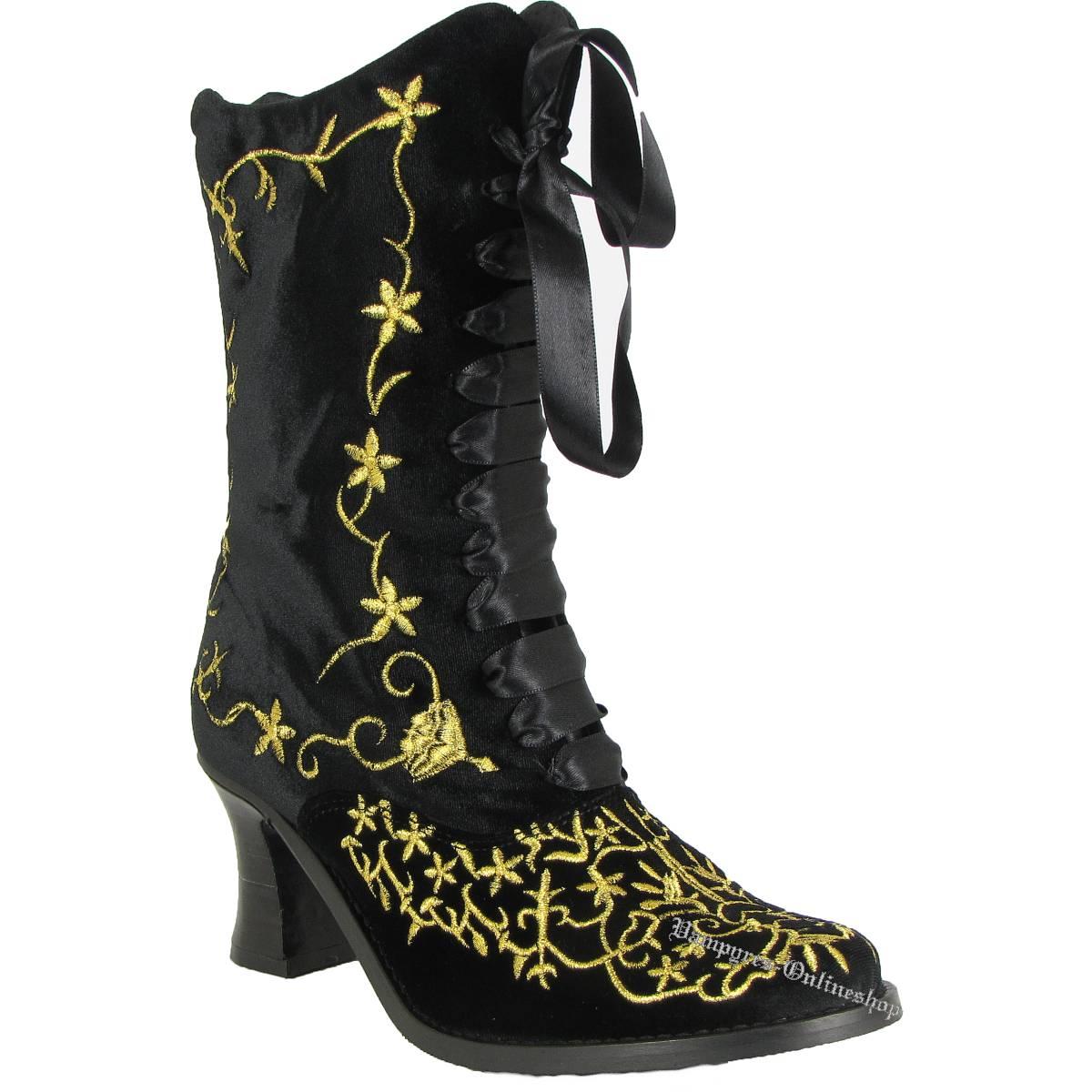 Boots & Braces Lady Boot Black Velvet Schwarz Gold