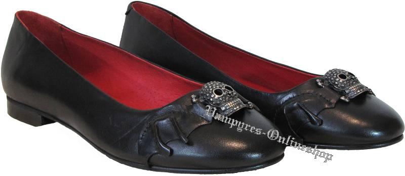 Boots & Braces Lilith Ballerinas Totenkopf Skull Schwarz Rot