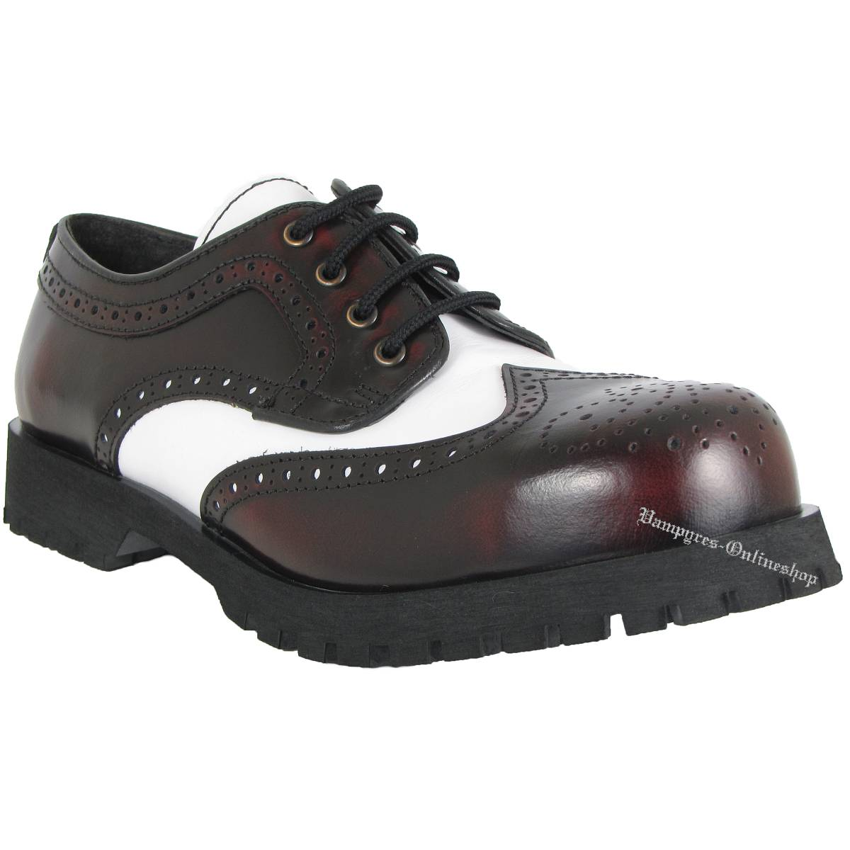 Boots & Braces 4-Loch Budapester Burgundy Weiß Schuhe Rangers