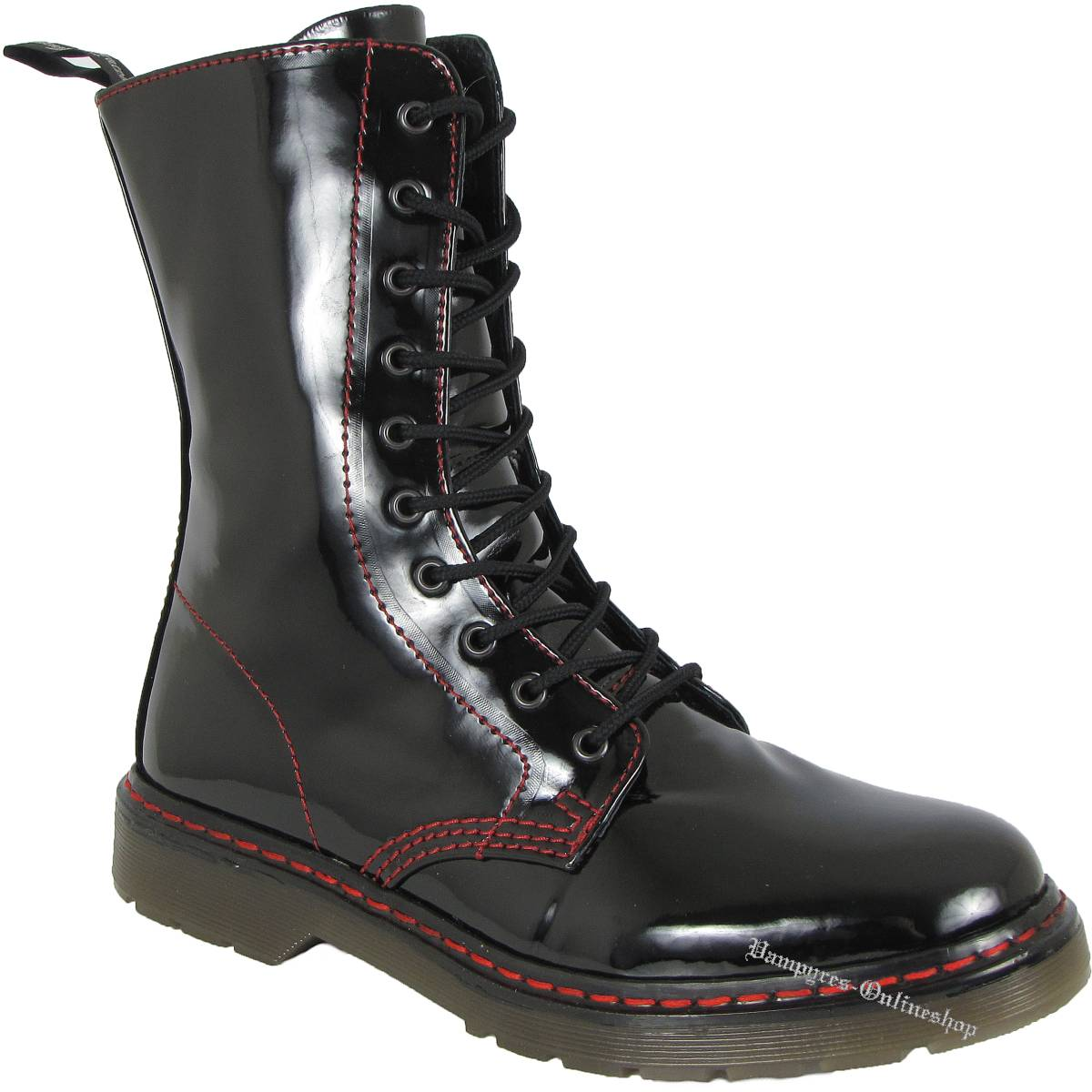 Boots & Braces Easy 10-Loch Bloody Patent rote Naht Schwarz Stiefel
