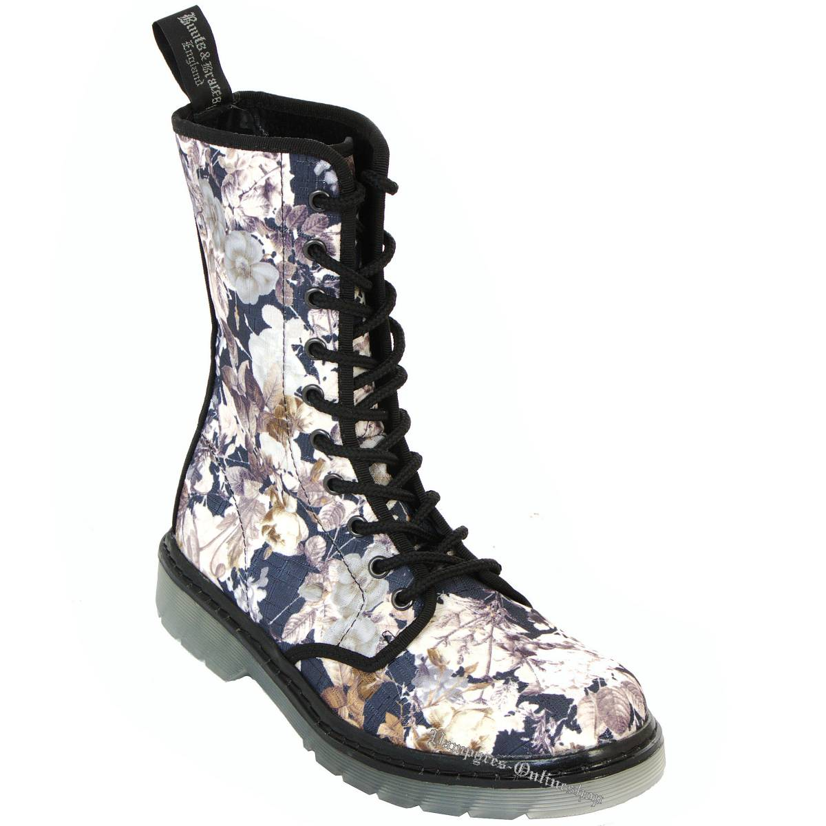 Boots & Braces Easy 10-Loch September Flowers Braun Stiefel