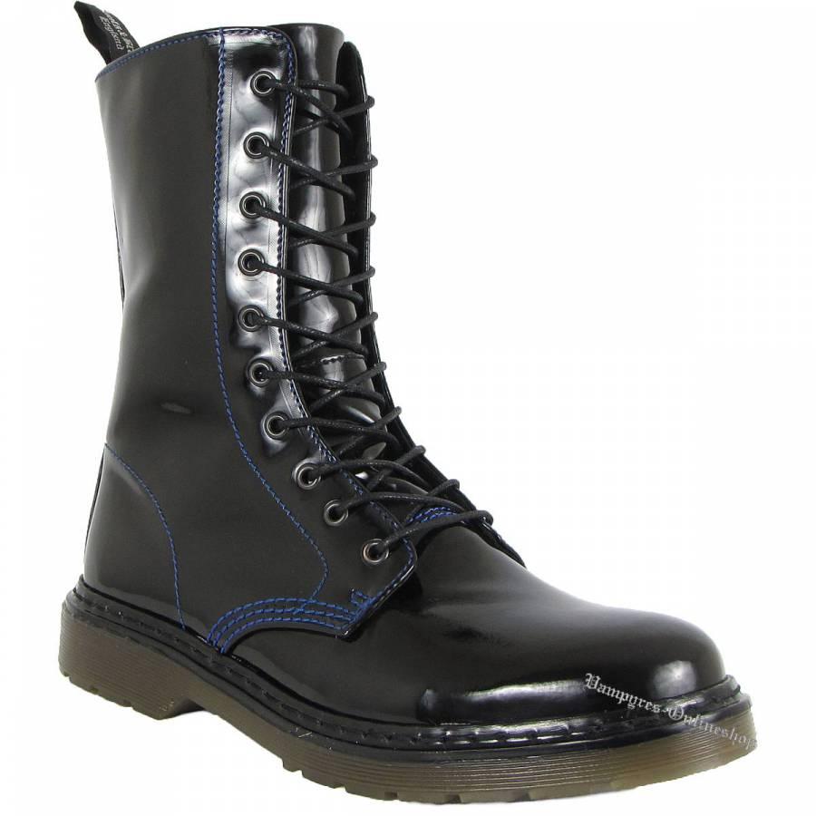Boots & Braces Easy 10-Loch Lack blaue Naht Schwarz Stiefel