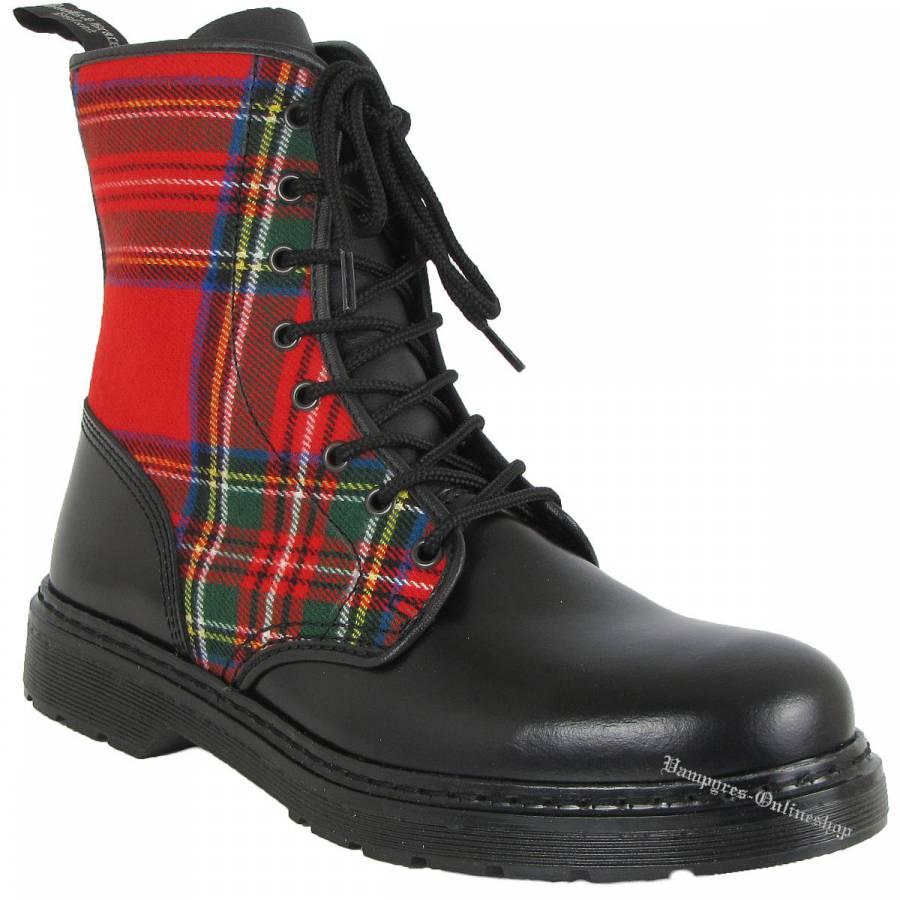 Boots & Braces Easy 8-Loch Tartan Schwarz Stiefel