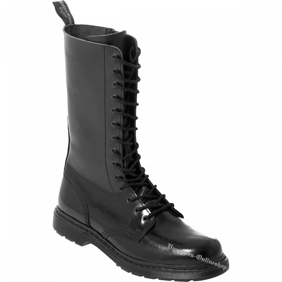 Boots & Braces Easy 14-Loch Zip Schwarz Stiefel