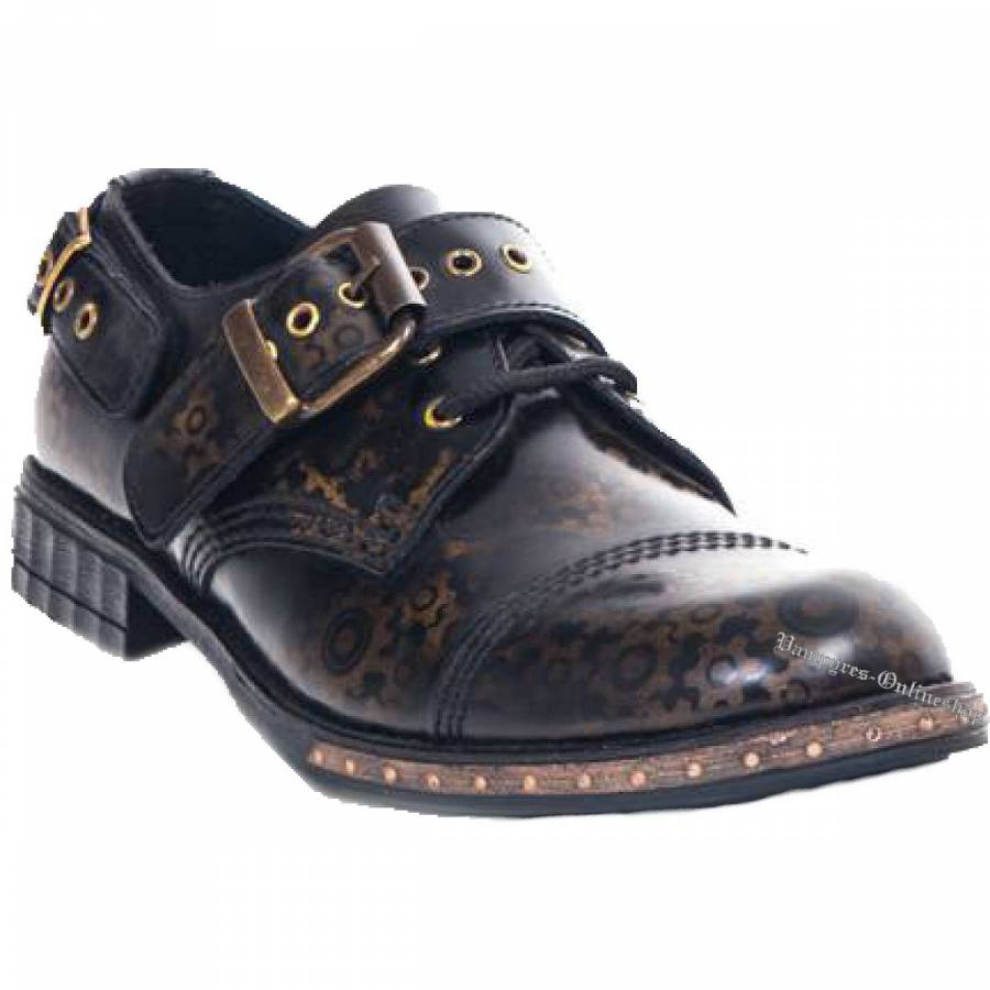 Boots & Braces 3-Loch Steampunk Gear Brass Schuhe