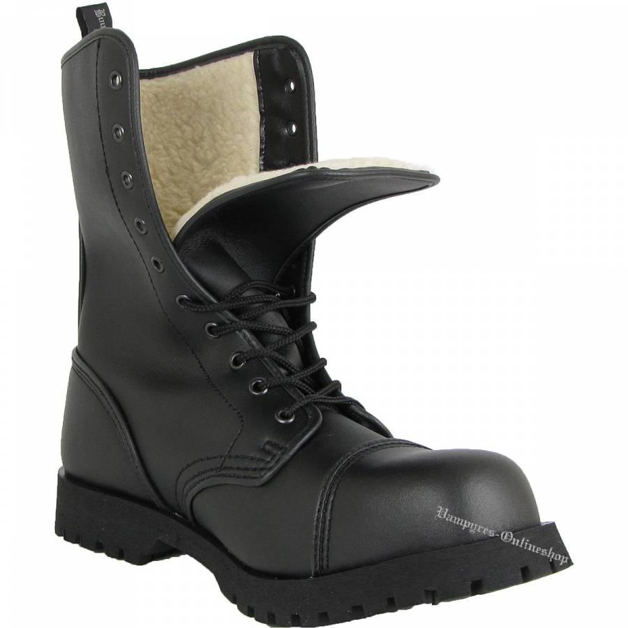 Boots & Braces 10-Loch Winter Vegetarian Schwarz Vegane Rangers Vegi