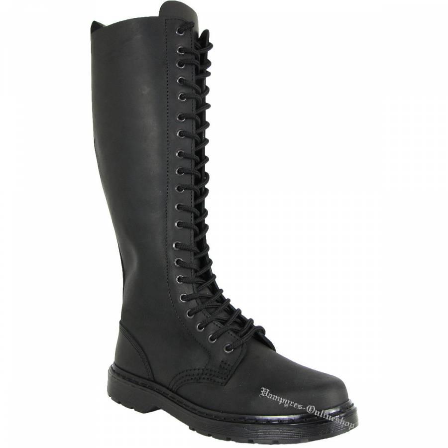 Boots & Braces Easy 20-Loch Crazy Horse Schwarz Reißverschluss