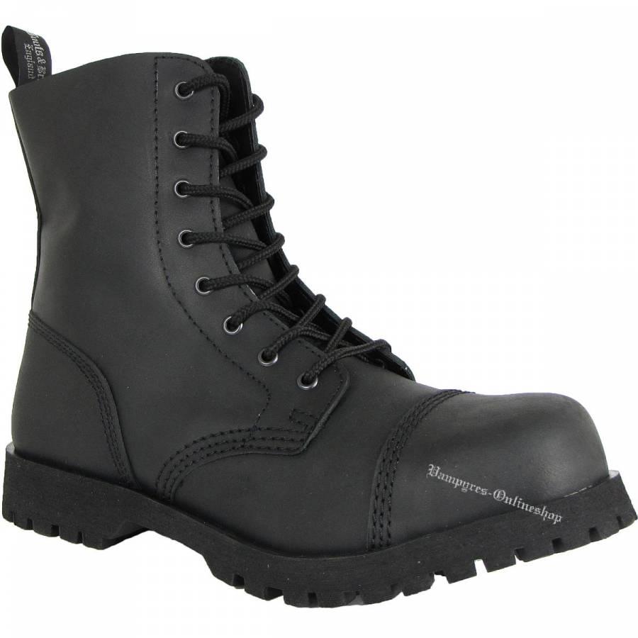 Boots & Braces 8-Loch Basic Schwarz Matt Stiefel Rangers
