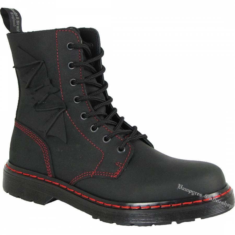 Boots & Braces Easy 8-Loch Bat Schwarz Matt Stiefel