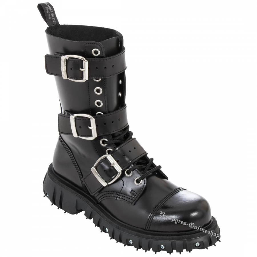 Boots & Braces 12-Loch 3-Schnallen Massiv Schwarz Stiefel