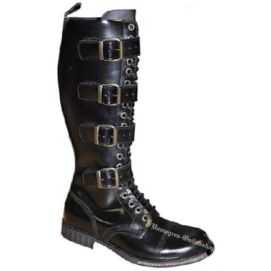 Boots & Braces 20-Loch Steampunk Schwarz Stiefel